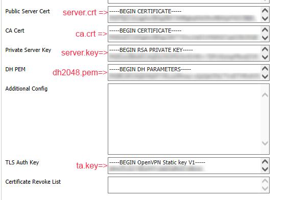 OpenVPN key and cert settings.